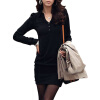 CT&HF Женщины Сексуальная Мода Pure Color платье корейских женщин Сельма контракту V-образным вырезом платья Горячий продавать Повседневная Хлопок длинным рукавом платье 5 цветов без рукавов карандаш платья 2016 новые платья v образным вырезом прибытия платья 65% хлопок 35% полиэстер вскользь платья