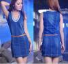 Lovaru ™2 015 Весна новый джинсовое платье Тонкий тонкий кусок джинсовая юбка бюст моды случайные юбка