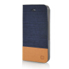 MOONCASE Canvas Design Leather Side Flip Wallet Pouch Stand Shell Back ЧЕХОЛДЛЯ Apple iPhone 5 / 5S Dark Blue mooncase canvas design leather side flip wallet stand shell back чехолдля apple iphone 6 plus 5 5 inch light brown