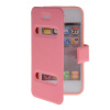 MOONCASE View Window Leather Side Flip Pouch Stand Shell Back ЧЕХОЛ ДЛЯ Apple iPhone 4 / 4S Pink roar korea noble leather stand view window case for iphone 7 4 7 inch orange