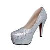 Женщины с блестками Стразы Шипованные Насосы Платформа Клин обуви на высоком каблуке серебро кир булычев клин клином