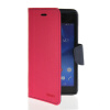 MOONCASE Classic cross pattern Leather Side Flip Wallet Card Pouch Stand Soft Shell Back чехол для Sony Xperia M2 Hot pink