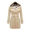 CT&HF Женщины двубортное пальто хлопок длинный зимняя верхняя одежда Женская толстовка с капюшоном
