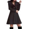 CT&HF Женщины Темперамент Элегантный сгущает Сладкий зимы пальто Pure Color шерстяные пальто контракту нагрудные Сельма Пальто пальто
