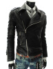 Мужская мода Искусственная кожа Байкер пальто куртки мотоцикла Тонкий дизайн лацкане Верхняя одежда верхняя одежда
