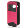 MOONCASE Window Leather Side Flip Wallet Card Slot Pouch Stand Soft Shell чехол для Htc One Mini 2 ( M8 Mini ) Hot pink