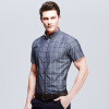 Новое поступление мужчин клетчатые рубашки 2016 модные мужские летние рубашки короткий рукав тонкий подходит свободного покроя рубашки 4 цвета плюс Размер 5xl рубашки vitacci рубашки