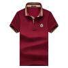 Bejirog с короткими рукавами футболки мужской случайный воротник воротник сплошной цвет рубашка T317 вино красный 185 / XXL