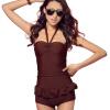 Pu Анди (puandy) купальник женщин собрать небольшой груди был тонкий кусок купальник юбка стиль купальник PWC01 розовый XXL купальник 75f