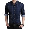 в 2016 году 100% высококачественные mens рубашки в голубой рубашке мужчины причинно - следственной полосатой рубашке мужчины Camisa социального masculina сорочка homme m-5xl 2016 100