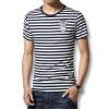 мода на период до 2016 года летом мужчины, футболки - шею полосатый футболки моды слим подходит случайный хлопок mens футболки горячей продажи новых футболок футболки