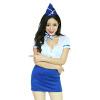 4-мерный космический мундир соблазн - стюардесса сексуальный глубокий V сексуальное белье белый синий воздух lux fetish зажимы на соски с колокольчиками на конце