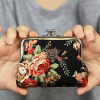 MyMei New Style Women Girls Floral Clasp Coin Purse Cards Case Flowers Print Wallet new style women s monogram pencil case wallet ms lunch box style purse mobile phone bags free shipping 1313