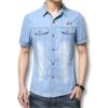 Мужчины деним синий коротким рукавом футболки 2016 летний Новый мужские рубашки мода дизайнеры свободного покроя мужские рубашки свободного покроя приталенный Fit мужские рубашки Размер 3XL