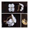 MyMei Cute Lady Flower Crystal Ear Stud Earrings Jewelry Rhinestone Fashion 2 Pairs square shaped stylish crystal zinc alloy stud earrings black bronze pair