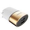 Besiter 5V / 2.1A Мобильный телефон / планшет / двойной выход Smart Adapter Складная вилка Портативное зарядное устройство / зарядное устройство 0802 Champagne Gold