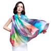 [Супермаркет] Jingdong Г-жа Бум Cheung шелковый шарф шифоновый шарф удлиняется двойной кондиционер шаль шарф Blue Rose s9123 шифоновый бейбидолл 42 46