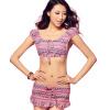 Pu Andi (puandy) горячий источник купальник женский стиль раскол юбка купальник небольшой груди собрать был тонкий купальник PWB06 розовый XXL