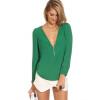 Женщины молнией V-образным вырезом шифон Топы рубашка с длинным рукавом Повседневная блузка