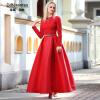DF · RS С длинными рукавами платье темперамент сладкий Тонкий длинный юбка новый красный качели платье платье с рукавами printio новый год