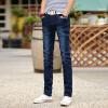 Longyue Men's Cowboy Длинные брюки Корейский стиль Брюки Брюки Мода в поясе стрейч Тонкие карандашные брюки LMGUKN1658 Синий 34