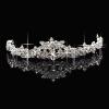 Классический Sparkly Кристалл Rhinestone короны Tiara выпускного вечера венчания невесты головная повязка цветок гирлянда цветочные люкс головная повязка hairband выпускного вечера венчания аксессуары для волос