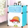 [Супермаркет] Кинг Вей Jingdong простого сочетание пластиковых шкафов для хранения тумбочки шкафчиков 2 2 сетки модели синего мультфильма