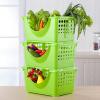 [Супермаркет] любит думать в Jingdong (Arsto) пластиковая кухня стеллажи полки для хранения овощной корзины фруктов и овощей стойки для хранения стойки для хранения приправ сгущаться 7972A3 зеленый слой 3