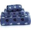 Санли хлопчатобумажной пряжи окрашенные жаккардовые полотенца / полотенце / банное полотенце подарочной коробке 3 комплекта сине-голубой