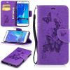 Фиолетовая бабочка с тиснением Классическая флип-обложка с функцией подставки и слотом для кредитных карт для Samsung GALAXY J5 2016/J510