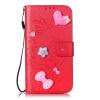 Красный цветок дизайн искусственная кожа флип кошелек карты держатель чехол для HUAWEI Y6 смартфон huawei y6 pro золотой