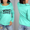 MyMei 2016 New Womens Sweater Knit Shirt Printing Letters Heaps Collar Hooded Sweater