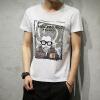 DAVID.ANN короткими рукавами футболки мужские шею футболки мужские персонажи напечатаны с короткими рукавами футболки T756 белый XXL