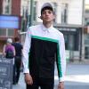мужская рубашка с длинными рукавами квадратный воротник цвет рубашка молодежная куртка мужская CC20063 черно-белая строчка XL код