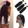 360 lace frontal with bundle brazilian virgin hair with closure deep wave with closure human hair bundles with closure