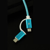 Nylon Braided 2 in 1 High Speed Sync Data Micro USB Charging Cable Line For iPhone 7 6s Plus Android  580198 flat micro usb male to usb 2 0 male data sync charging cable for samsung more white 200cm