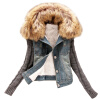 MyMei 4xl casaco feminino winter women fashion denim jacket Movable furs collar Wool coat Bomber Jacket jean women basic coats бра 2641 2w salona odeon 928705