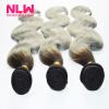 Human Virgin Hair Ombre Brazilian Body Wave 3 Bundles for Black Women Sew In Weft 8A Top Grade 1B Gray Hair Weave Extension Full