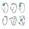 6шт бирюзовые стрелки Moon Midi кольца Набор женщин ювелирные изделия нового подарка способа