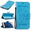 Светло-синий медведь Стиль Тиснение Классический откидная крышка с подставкой Функция и слот кредитной карты для SAMSUNG Galaxy S7