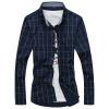 GEEDO рубашка мужская самосовершенствование решетка дикая корейская рубашка DJ252 тибетский синий 4XL