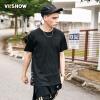 Village Roadshow viishow круглый пуловеры шею с коротким рукавом футболки Тонкий чистый черный мужской ремешок мужской короткий футболка черный M TD15741721