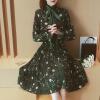 Milano (MILANYIN) Женская женская одежда 2017 весна новая женская корейская версия бархатного пояса гриба уха край складчатое платье ML010 зеленый M женская одежда