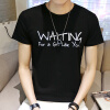 lucassa с короткими рукавами футболки мужские шею футболки письмо отпечатанные с короткими рукавами футболки мужчин 98051 Синий M футболки