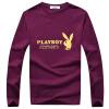 Playboy ПЛЭЙБОЙ футболки Мужская мода V-образным вырезом с длинными рукавами футболки печать 16057PL2903 черный 3XL