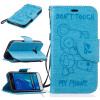 Light Blue Bear Embossed PU Leather Wallet Case Classic Flip Cover with Stand Function and Credit Card Slot for SAMSUNG Galaxy J1 247 classic leather
