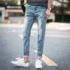 lucassa мужских джинсы отверстие шаровары талия ДОСУГ девяти мужчин и 931 синих джинсов 34