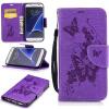 Фиолетовая бабочка с тиснением Классическая флип-обложка с функцией подставки и слотом для кредитных карт для Samsung Galaxy S7