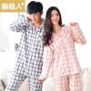 Антарктида + пара пижамы осень хлопок решетка лацкане кардиган с длинным рукавом домашнее обслуживание T-QL3071 мужской синий XL код