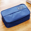 OuRunzhe Portable Bag Double open Cosmetic travel underwear storage blue 30*17*11.5cm